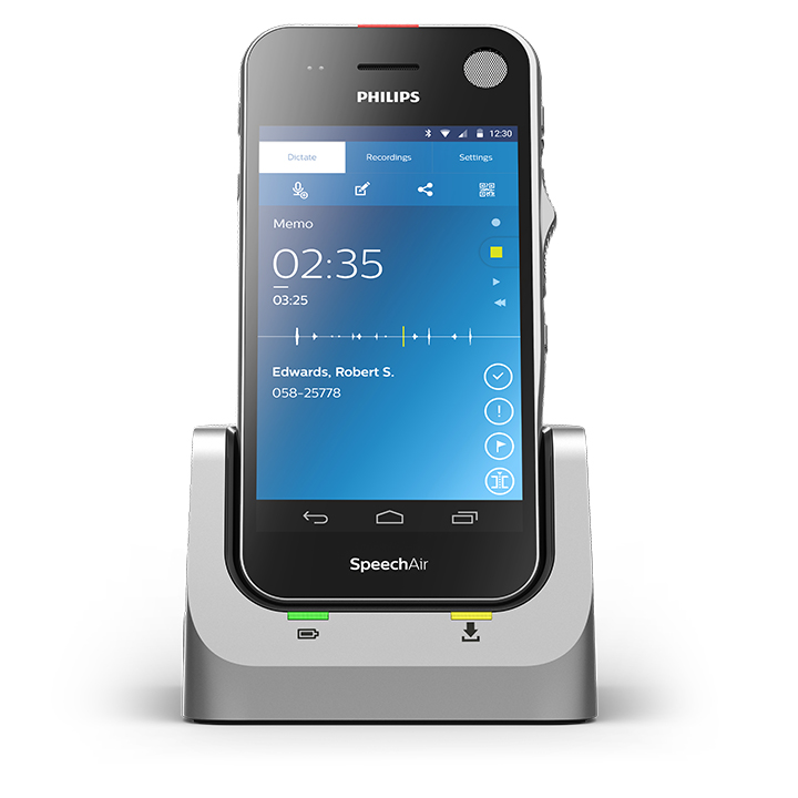 The Philips SpeechAir Smart Voice Recorder with Docking Cradle. Philips SpeechAir - Lowest price in the UK at Dictaphones.co.uk