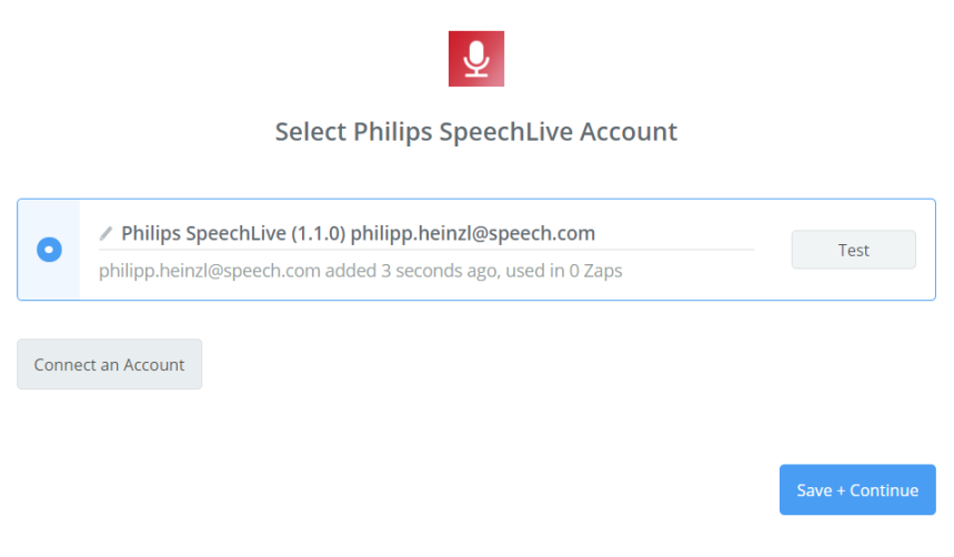 How to select Philips SpeechLive account in Zapier