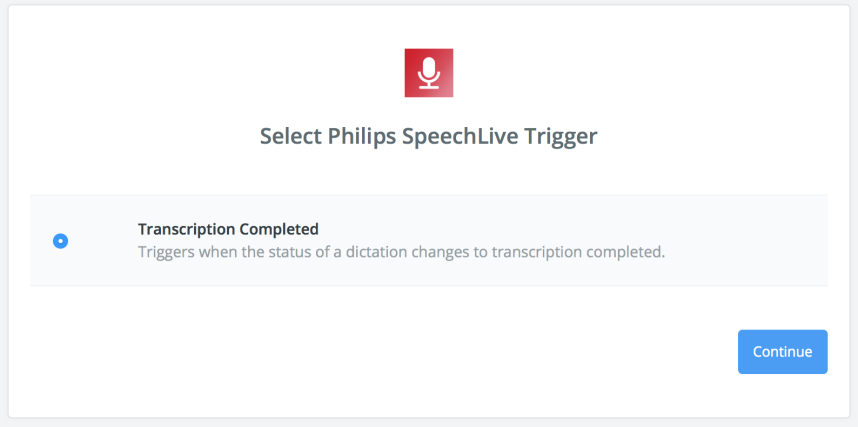 Select Philips SpeechLIve Transcription Finished Trigger in zapier