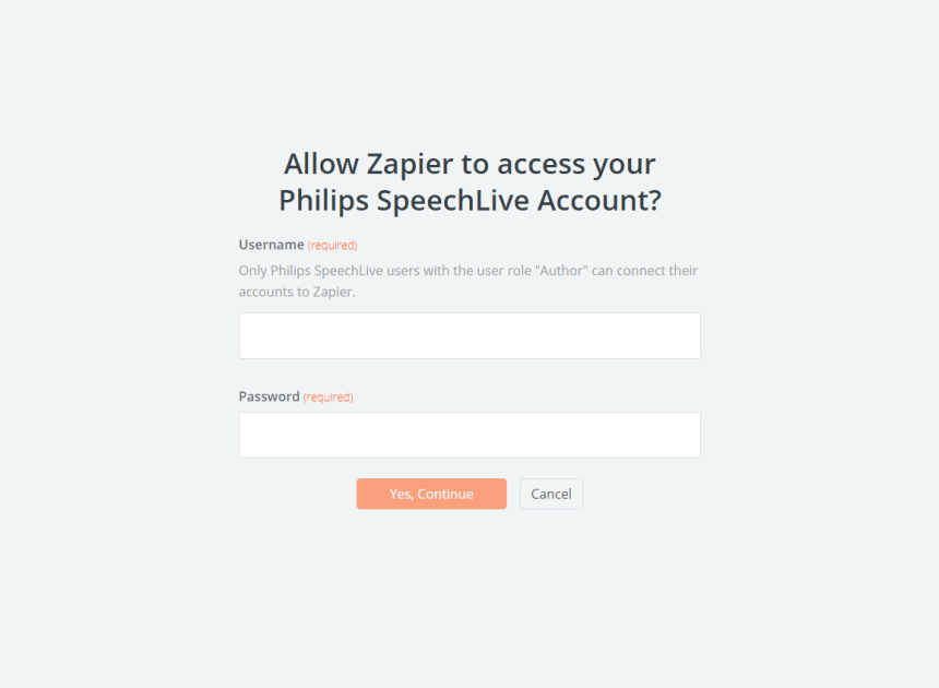 Allow Zapier to access your Philips SpeechLive account