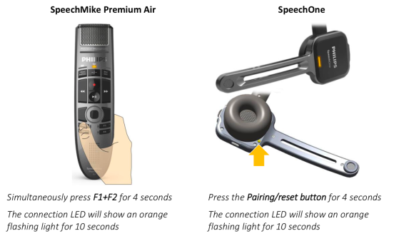 Pair Philips SpeechOne and SpeechMike Premium Air with Philips ACC4100 AirBridge